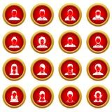 Avatars set icon red circle set. Isolated on white background Stock Image