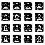 Avatars set set icons, grunge style. Avatars set icons in grunge style isolated on white background. Vector illustration Royalty Free Stock Photography