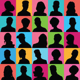 Avatars of silhouettes with different hairstyles. Royalty Free Stock Photo