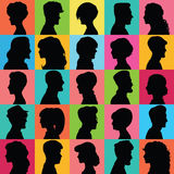Avatars of silhouettes. Profiles with different hairstyles. Royalty Free Stock Photo