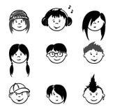 Avatars - Teenagers. Set illustrations -- funny face teens Royalty Free Stock Photos