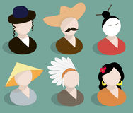 Avatars traditional national suits vector Royalty Free Stock Photo