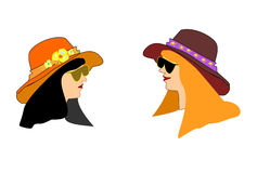 Avatars are two girls in hat vector illustration Stock Images