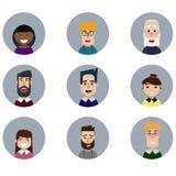 Avatars ustawiający Różnorodne twarze ludzkie również zwrócić corel ilustracji wektora Obrazy Royalty Free