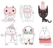 Avatars van krabbel leuke katten stock illustratie