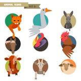 Avatars van landbouwbedrijfdieren Stock Afbeeldingen
