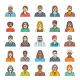 Avatars van mensengezichten vlakke dunne lijn vectorpictogrammen Stock Afbeeldingen