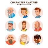 Avatars van mensenkarakters Geplaatst Vector Beeldverhaal vlak geïsoleerd illustratie royalty-vrije illustratie