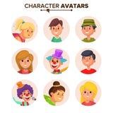 Avatars van mensenkarakters Geplaatst Vector Kleurenplaceholder Beeldverhaal vlak geïsoleerd illustratie royalty-vrije illustratie