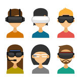 Avatars with Virtual Reality Glasses Icon Set. Flat Style Design. Vector Stock Image