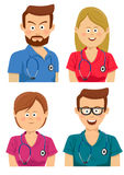Avatars of young hospital workers in multicolored scrubs. Over white background Royalty Free Stock Photo