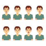 Avatarssinnesrörelser Ställ in en man med en variation av sinnesrörelser Manlig framsida med olika uttryck man i plan design royaltyfri illustrationer