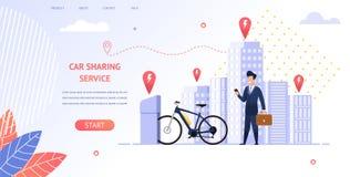 Avbilda affärsmannen Rent en elektrisk cykel för tur vektor illustrationer