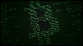 Avbilda bitcoin på skärmen från slumpmässiga nummer Royaltyfri Foto