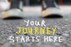 Avbilda med den selektiva fokusen över asfaltvägen och person med handskriven text - din resa startar här utbildning och motivati Royaltyfri Bild