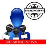 avbrott av pressen för konferensnyheternaperson Royaltyfri Bild