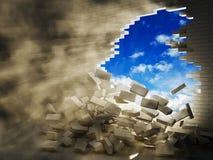 avbrott av tegelstenväggen Arkivfoton