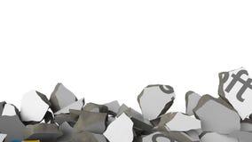 Avbrott av väggen med målad logo av Microsoft Begreppsmässig redaktörs- animering 3D för kris lager videofilmer