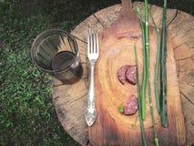 Avbrott för landssommarträdgård: Skivad salamikorv, salladslökar, vin i en Glass torktumlare And en silvergaffel på en Rusty Cutt royaltyfri fotografi