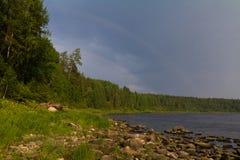 avbrottsranddagen reflekterade trä för surface vatten för sommaren för floden slätt royaltyfri foto