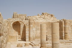 Avdat church ruins, Israel. Church ruins of the ancient town of the Nabataeans Avdat in the Negev desert, Israel royalty free stock images