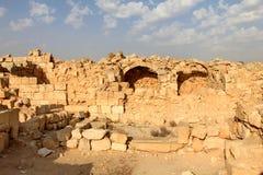 Avdat - Nabataeans建立和居住的古镇废墟在Neqev沙漠 图库摄影