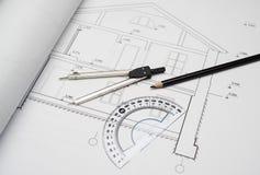 Avdelare på arkitektoniskt projekthus royaltyfri bild