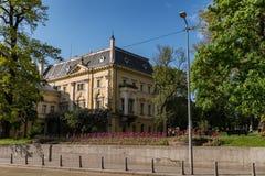 Avdelning av den nationella konstgallerit och Etnographic museet i tidigare konungslott i Sofia Bulgaria Slotten byggdes i 1880 ? fotografering för bildbyråer
