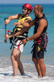 AVDIMOU, CYPRUS/UK - JULY 25 : Learning to kite surf in Avidmou Stock Image