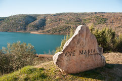 Ave Maria rock near the road in Krka, Croatia. Royalty Free Stock Images