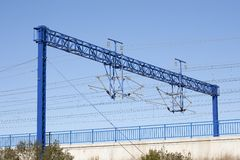AVE train catenary. Views of the overhead rail AVE, by its passage through Catalonia Stock Photography