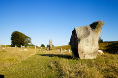 Avebury henge and stone circles are one of the greatest marvels of prehistoric Britain. Built and much altered during the Neolithic period, roughly between Stock Image