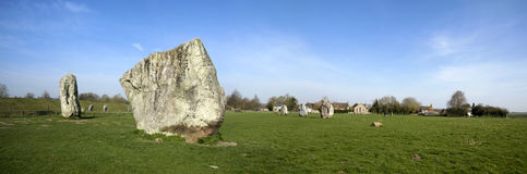 Avebury ring standing stone circle wiltshire uk. Prehistoric standing stone circle surrounding avebury village in wiltshire england Royalty Free Stock Image