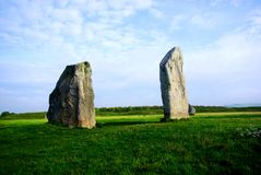 Avebury Stone Pair. A pair of stones making up part of the Avebury Stone Circle, United Kingdom stock image