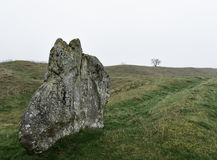 Avebury stones in fog Royalty Free Stock Photography