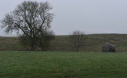 Avebury stones in fog. Old Avebury stones in fog Royalty Free Stock Image