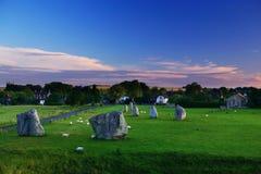 Avebury stones in Wiltshire. At sunrise royalty free stock photo