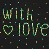 Avec amour fait de confettis sur le fond noir Cadre de nourriture Configuration plate, vue supérieure Photo stock