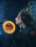 Avec avec le potiron Une grande toile d'araignée avant de lune lumineuse étrange Image stock