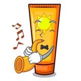 Avec de la crème du soleil de bande dessinée de trompette dans le maquillage de sac illustration de vecteur