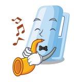 Avec des agrafeuses de bande dessinée de trompette sur les tables en bois ci-dessus illustration stock
