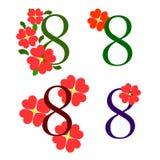 8 avec des fleurs Photos libres de droits