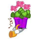 Avec des fleurs de géranium de trompette dans le pot de bande dessinée illustration libre de droits