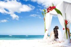 Avec des fleurs sur la plage Photos stock