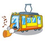 Avec des jouets de train électrique de trompette dans la mascotte de forme illustration de vecteur