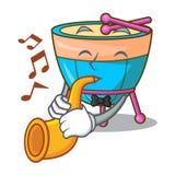 Avec des timbales de bande dessinée de trompette dans la musique de studio illustration stock