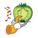 Avec des tranches de tomate de vert de trompette dans la forme de bande dessinée illustration de vecteur