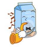 Avec du lait d'amande de trompette dans la bouteille de bande dessinée illustration de vecteur