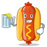 Avec Juice Hot Dog Cartoon Character Photo libre de droits