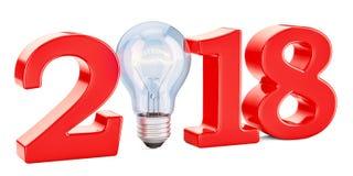 2018 avec l'ampoule, concept d'idée rendu 3d Photographie stock libre de droits